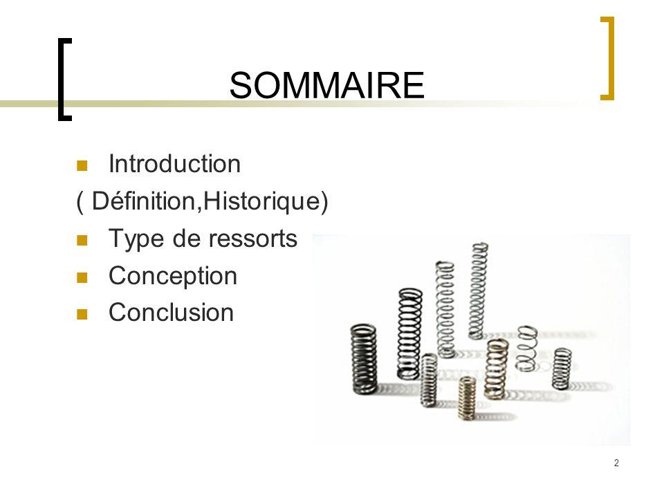 SOMMAIRE Introduction ( Définition,Historique) Type de ressorts