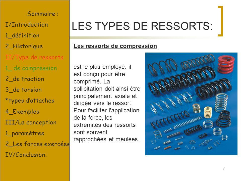 LES TYPES DE RESSORTS: Sommaire : I/Introduction 1_définition