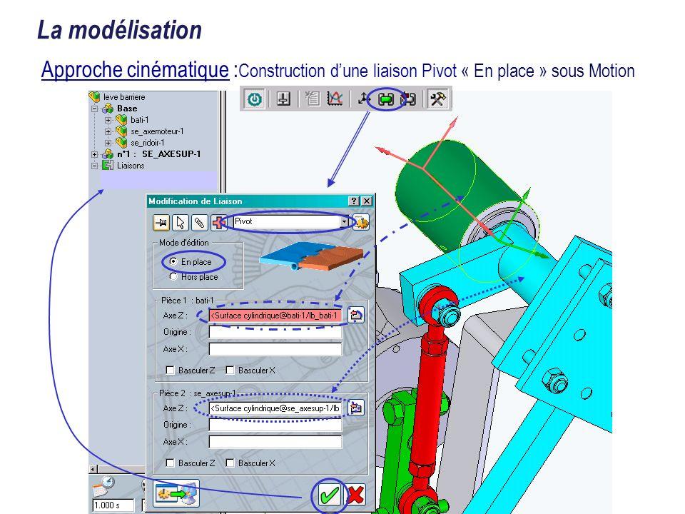La modélisation Approche cinématique :Construction d'une liaison Pivot « En place » sous Motion