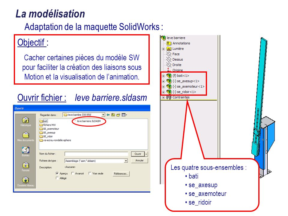 Adaptation de la maquette SolidWorks :