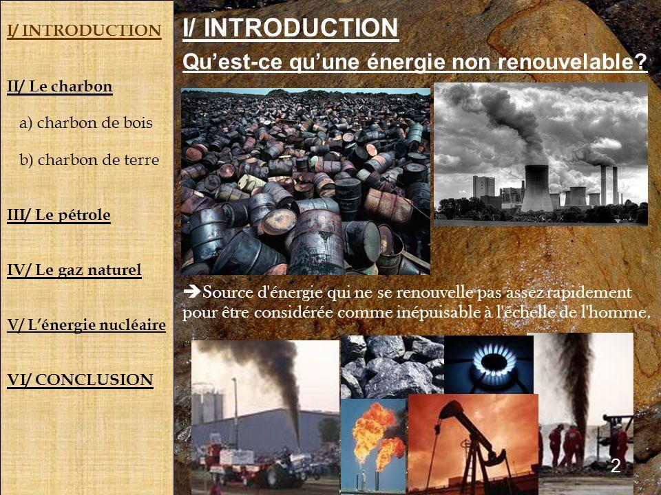 I/ INTRODUCTION Qu'est-ce qu'une énergie non renouvelable