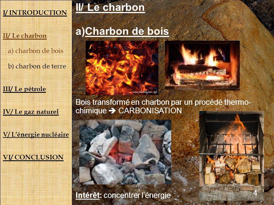 II/ Le charbon Charbon de bois