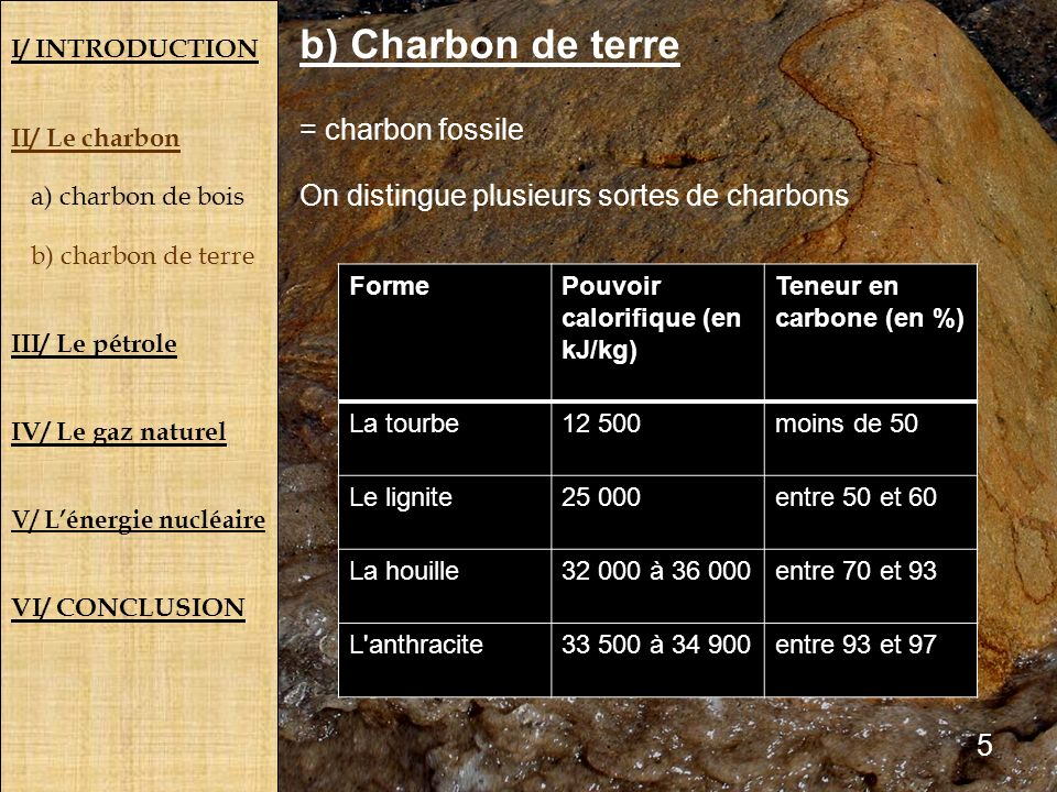 b) Charbon de terre = charbon fossile