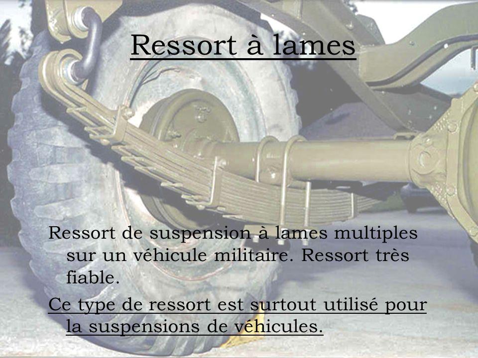 Ressort à lames Ressort de suspension à lames multiples sur un véhicule militaire. Ressort très fiable.