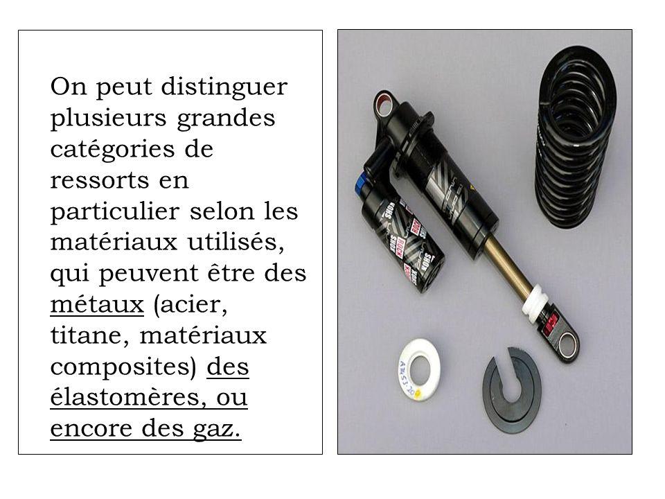 On peut distinguer plusieurs grandes catégories de ressorts en particulier selon les matériaux utilisés, qui peuvent être des métaux (acier, titane, matériaux composites) des élastomères, ou encore des gaz.