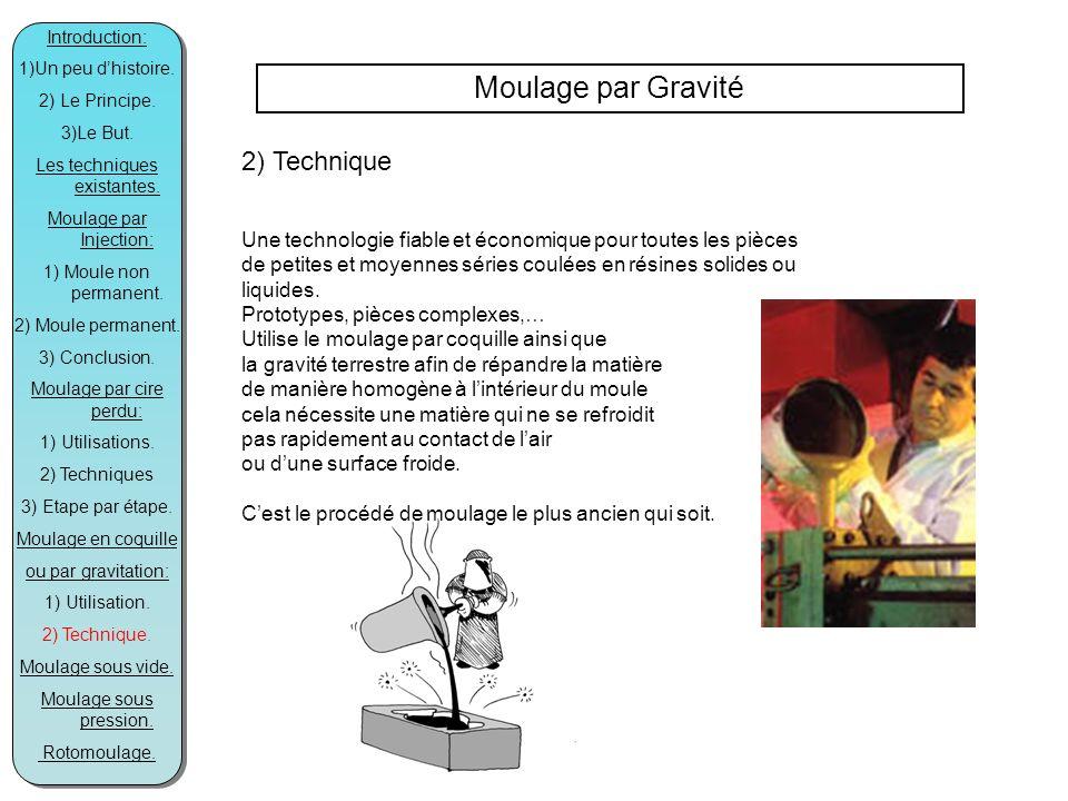 Moulage par Gravité 2) Technique