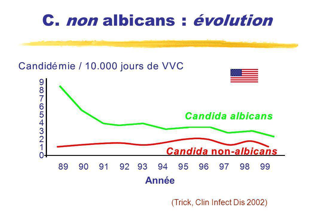 C. non albicans : évolution