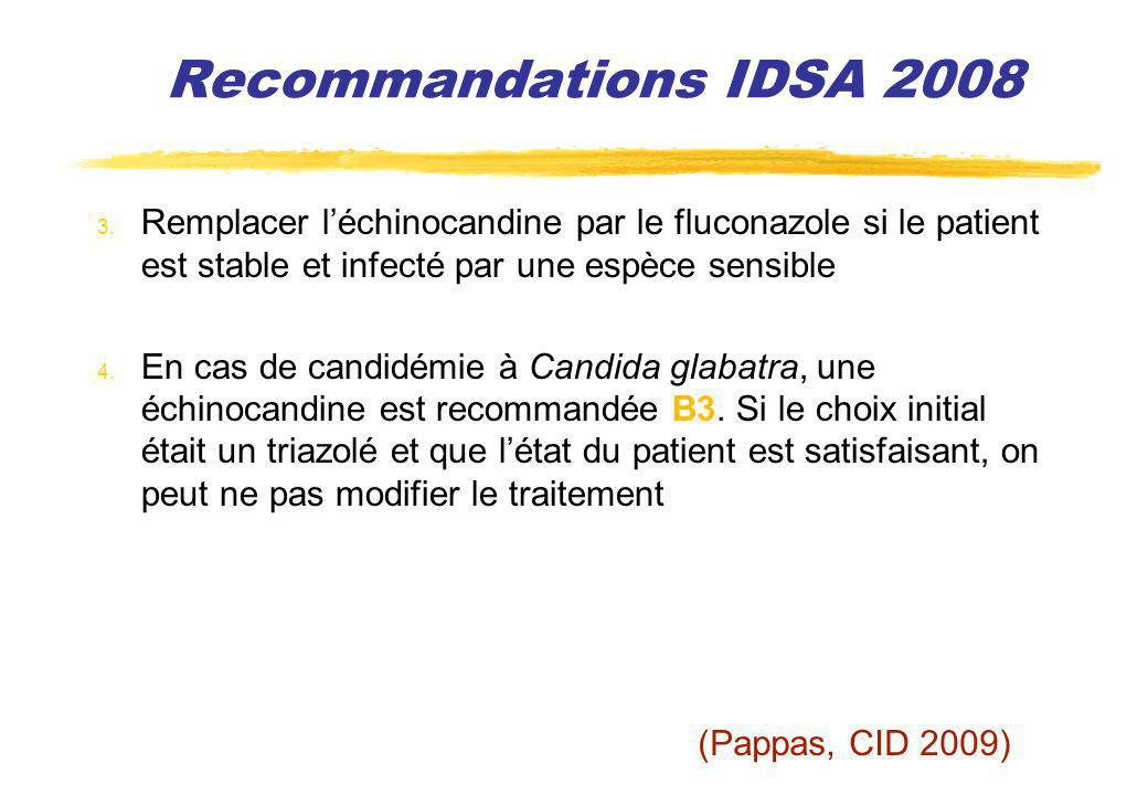 Recommandations IDSA 2008 Remplacer l'échinocandine par le fluconazole si le patient est stable et infecté par une espèce sensible.