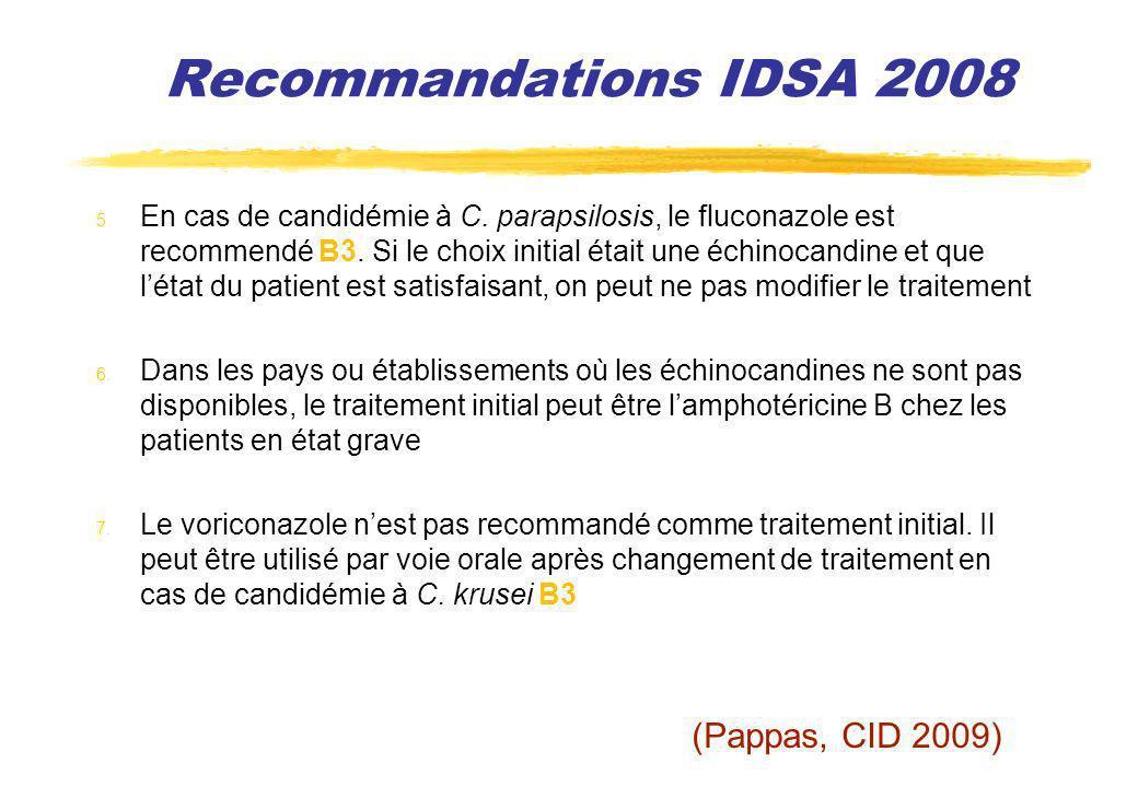 Recommandations IDSA 2008 (Pappas, CID 2009)