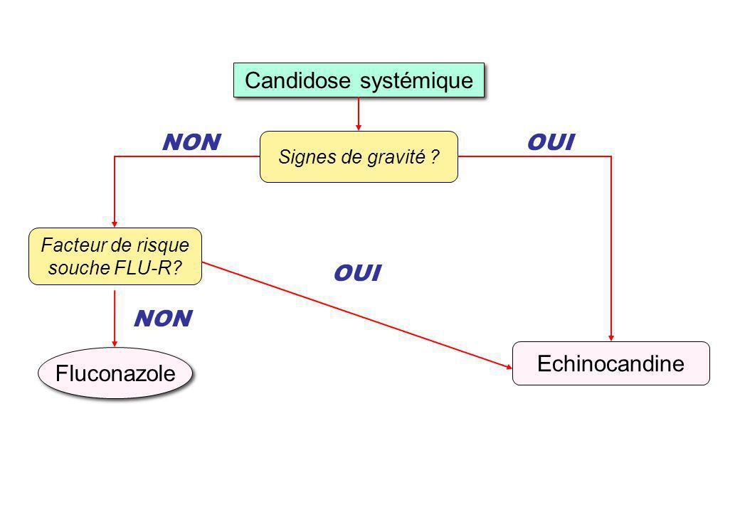 Candidose systémique NON Echinocandine OUI Fluconazole NON