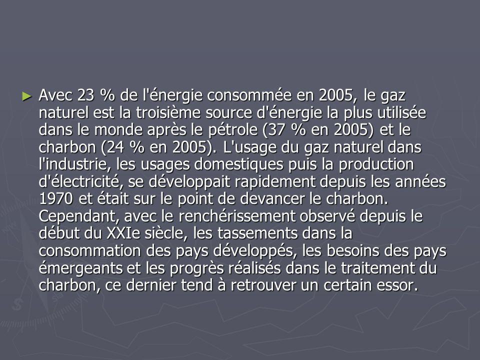 Avec 23 % de l énergie consommée en 2005, le gaz naturel est la troisième source d énergie la plus utilisée dans le monde après le pétrole (37 % en 2005) et le charbon (24 % en 2005).