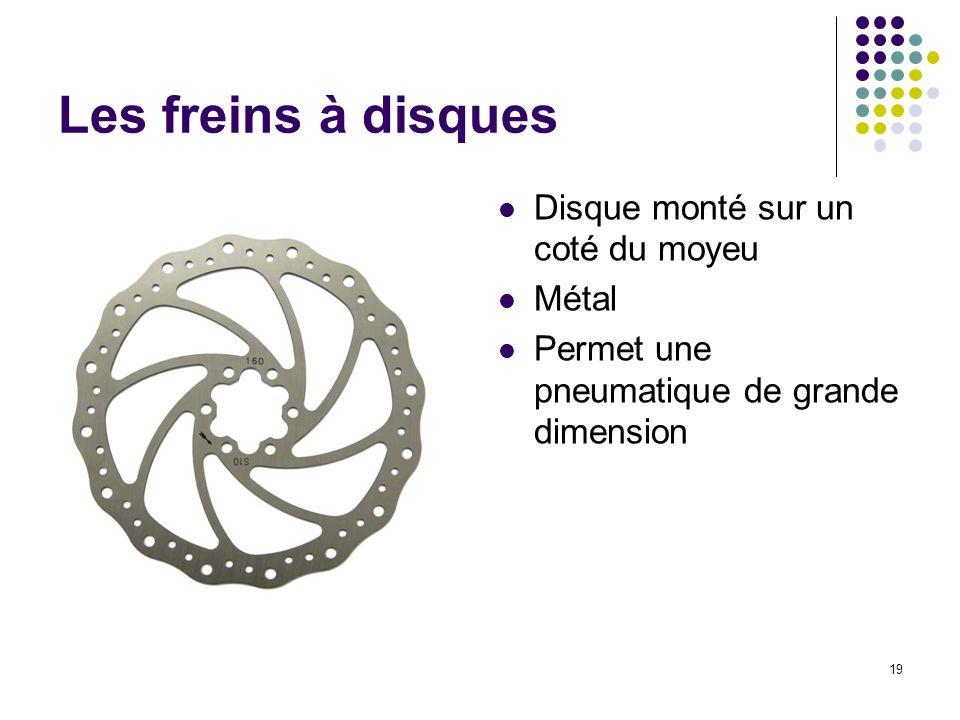 Les freins à disques Disque monté sur un coté du moyeu Métal