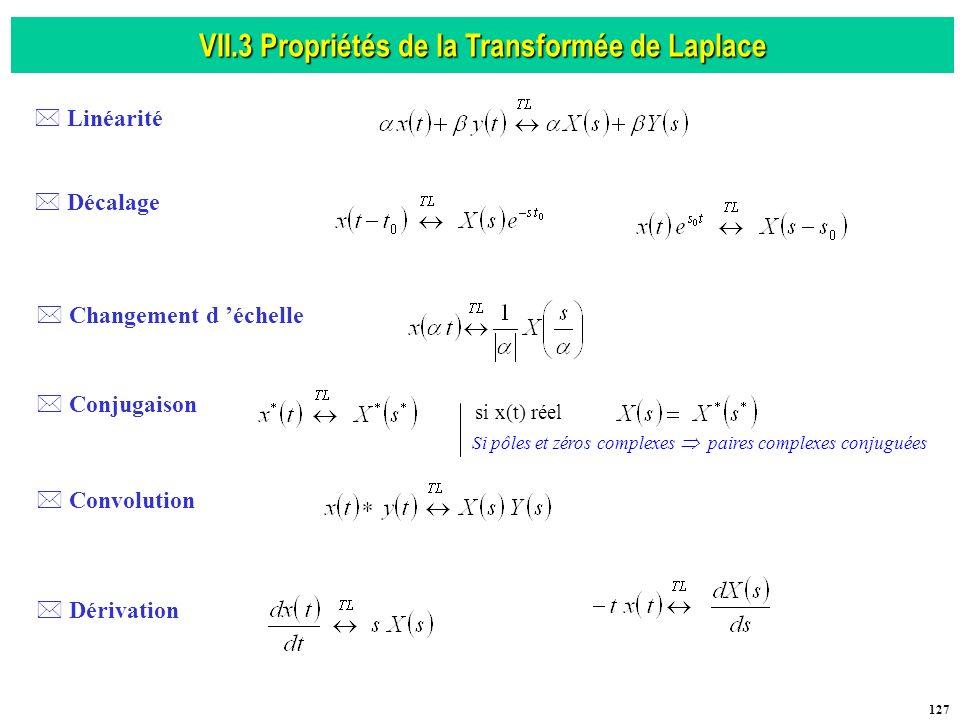 VII.3 Propriétés de la Transformée de Laplace