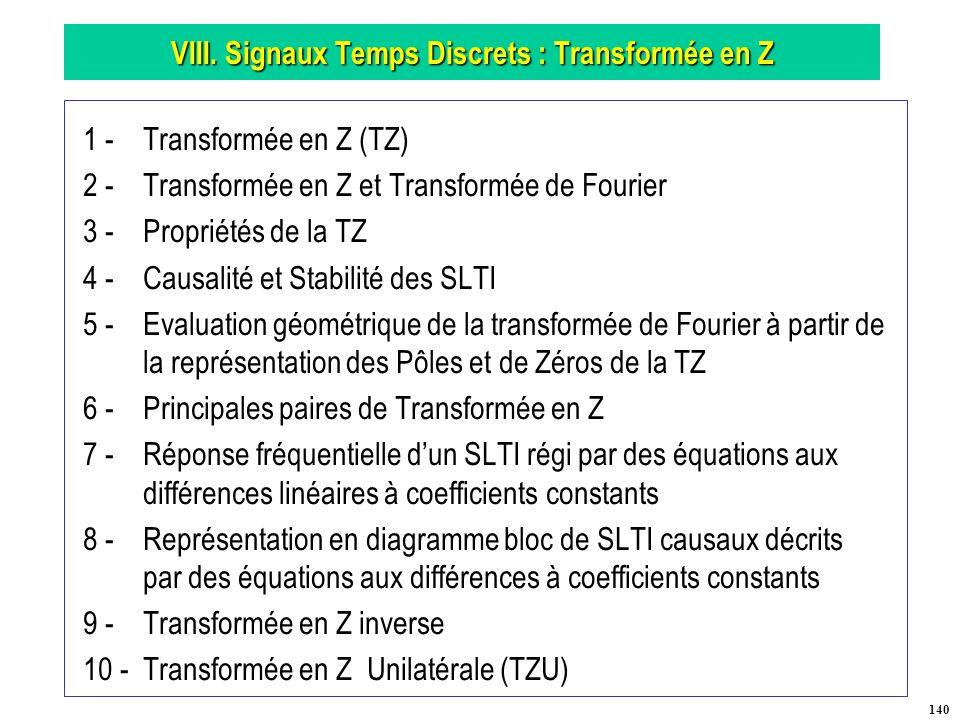 VIII. Signaux Temps Discrets : Transformée en Z