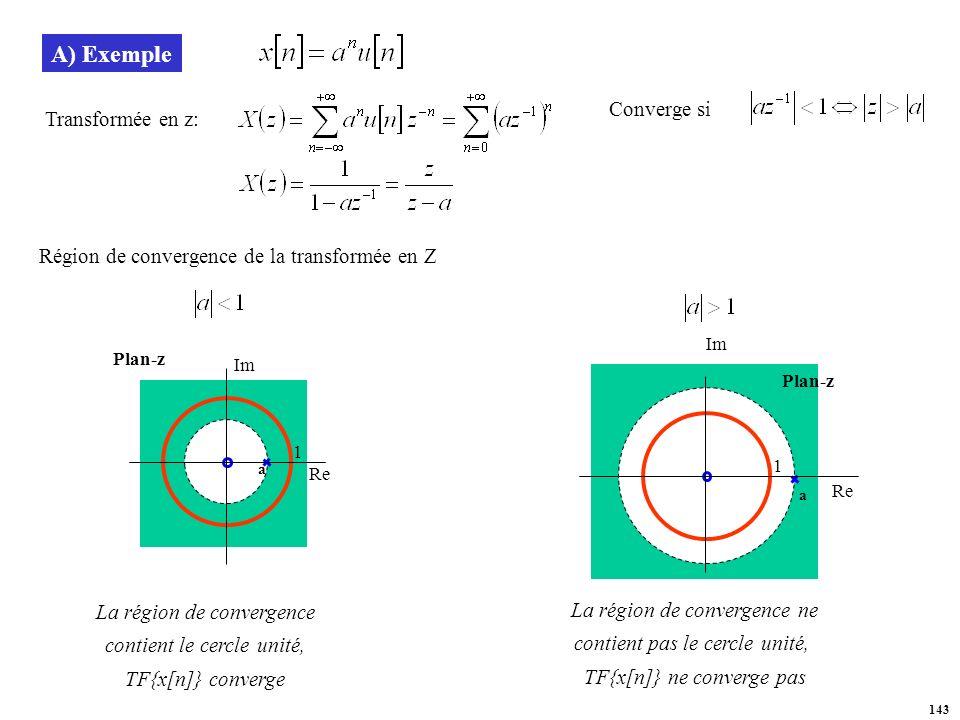 A) Exemple Converge si Transformée en z: