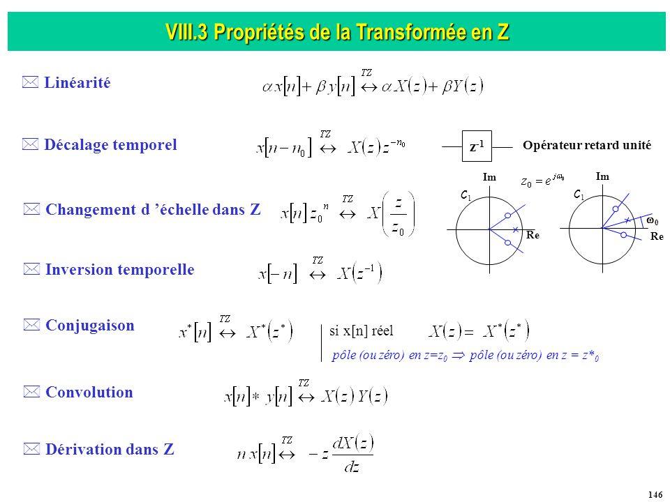 VIII.3 Propriétés de la Transformée en Z Opérateur retard unité
