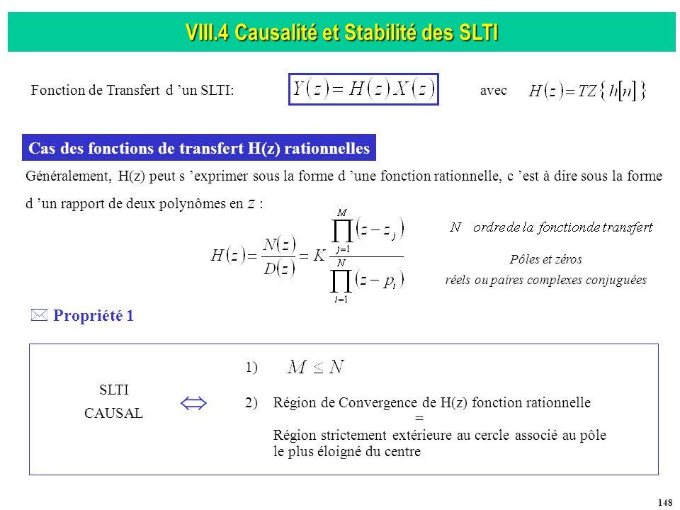 VIII.4 Causalité et Stabilité des SLTI