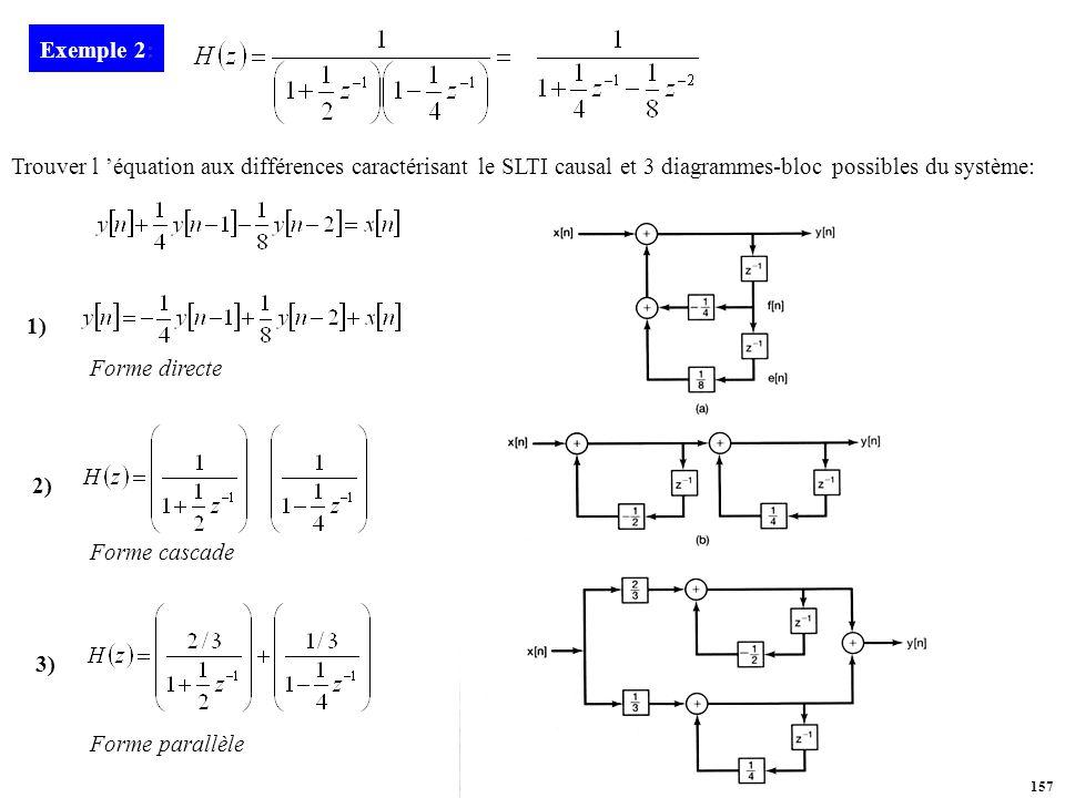 Exemple 2: Trouver l 'équation aux différences caractérisant le SLTI causal et 3 diagrammes-bloc possibles du système:
