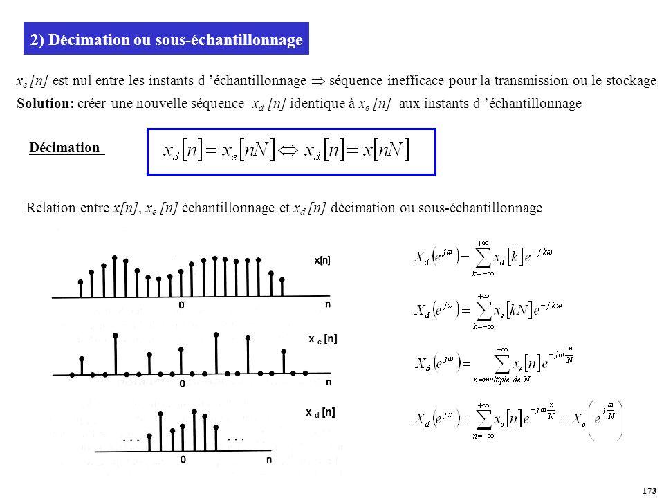 2) Décimation ou sous-échantillonnage