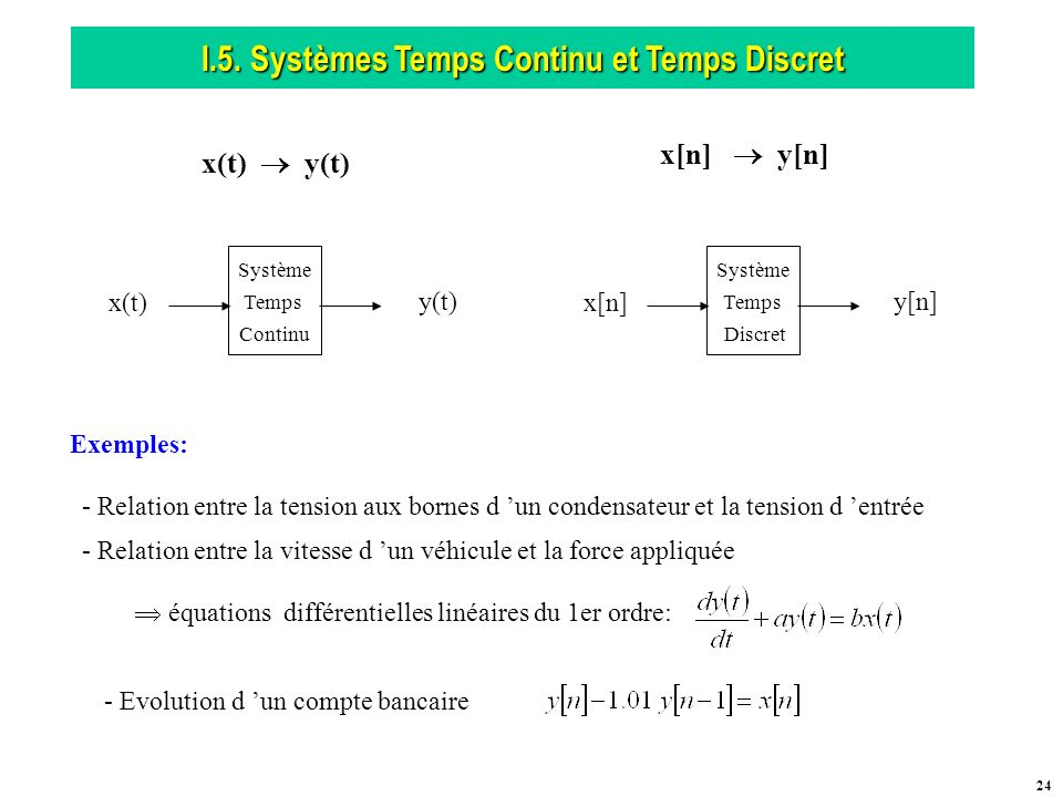 I.5. Systèmes Temps Continu et Temps Discret