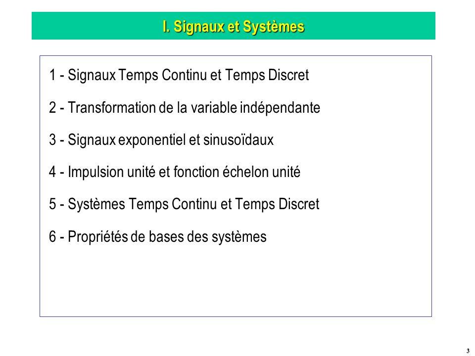 I. Signaux et Systèmes 1 - Signaux Temps Continu et Temps Discret. 2 - Transformation de la variable indépendante.