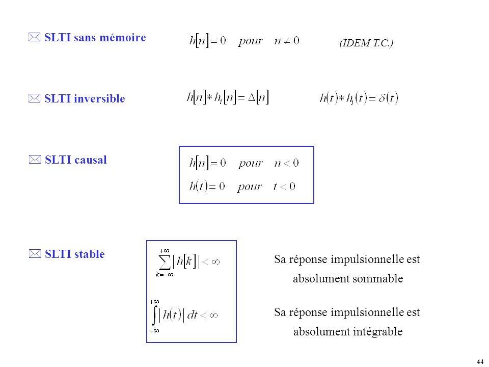 SLTI sans mémoire SLTI inversible SLTI causal SLTI stable