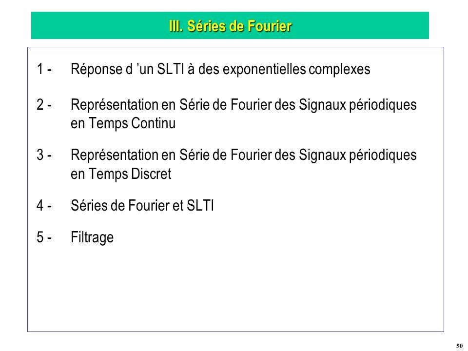 III. Séries de Fourier 1 - Réponse d 'un SLTI à des exponentielles complexes.