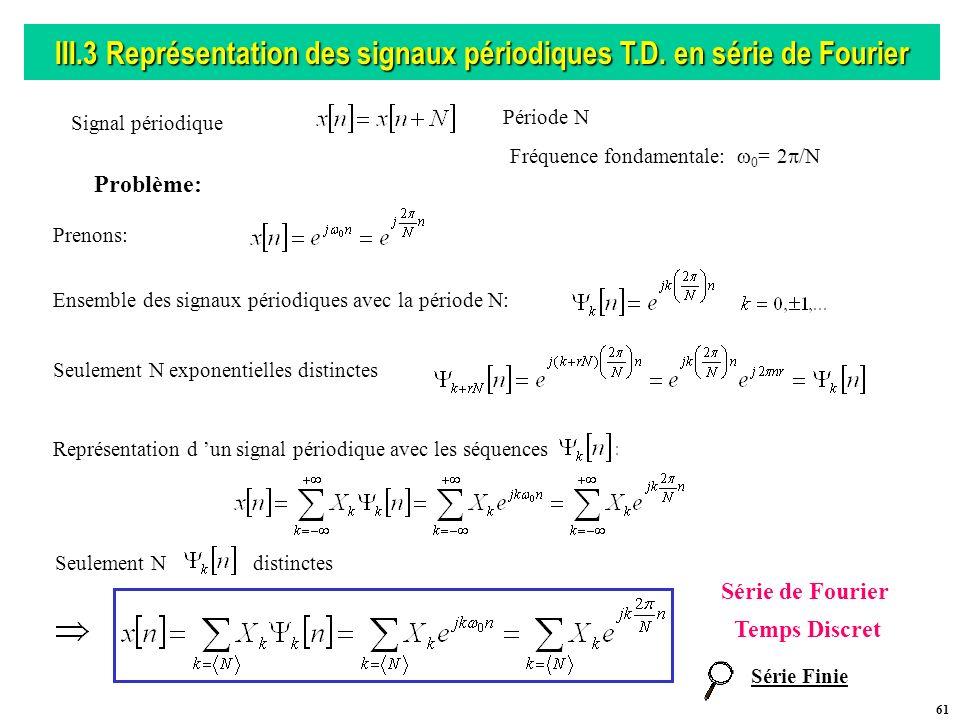 III.3 Représentation des signaux périodiques T.D. en série de Fourier