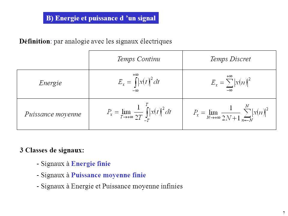 B) Energie et puissance d 'un signal