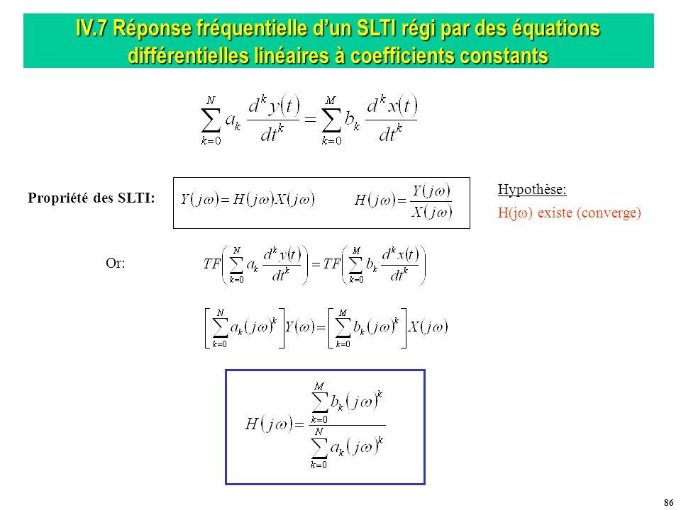 IV.7 Réponse fréquentielle d'un SLTI régi par des équations différentielles linéaires à coefficients constants