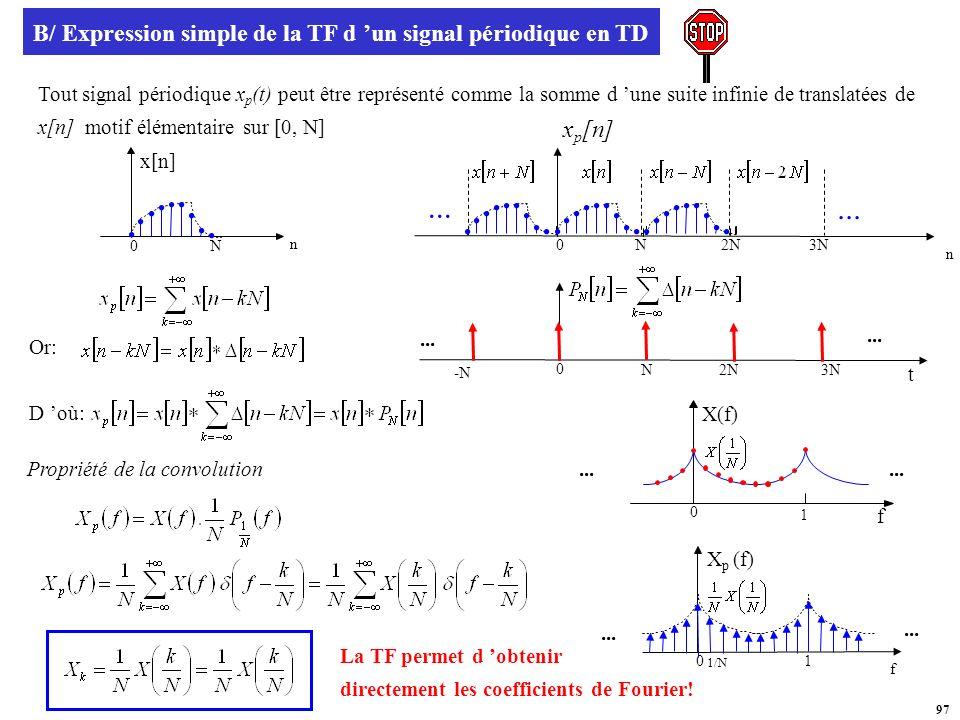B/ Expression simple de la TF d 'un signal périodique en TD