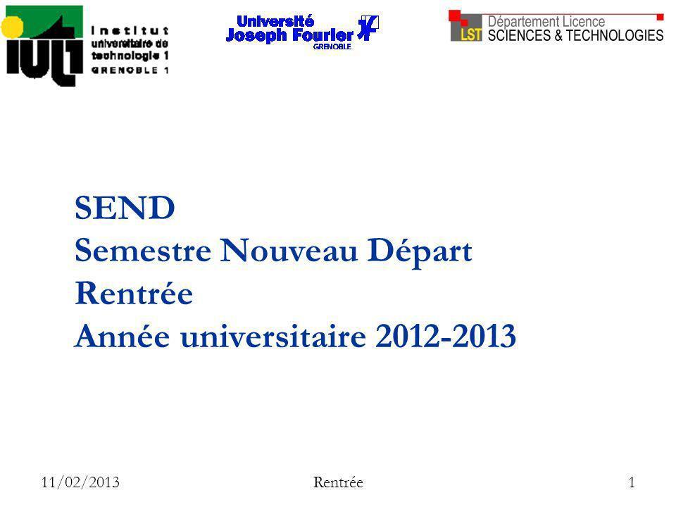 SEND Semestre Nouveau Départ Rentrée Année universitaire 2012-2013