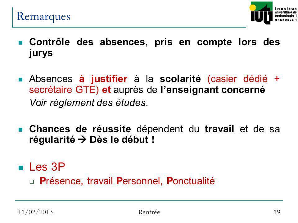 Remarques Les 3P Contrôle des absences, pris en compte lors des jurys
