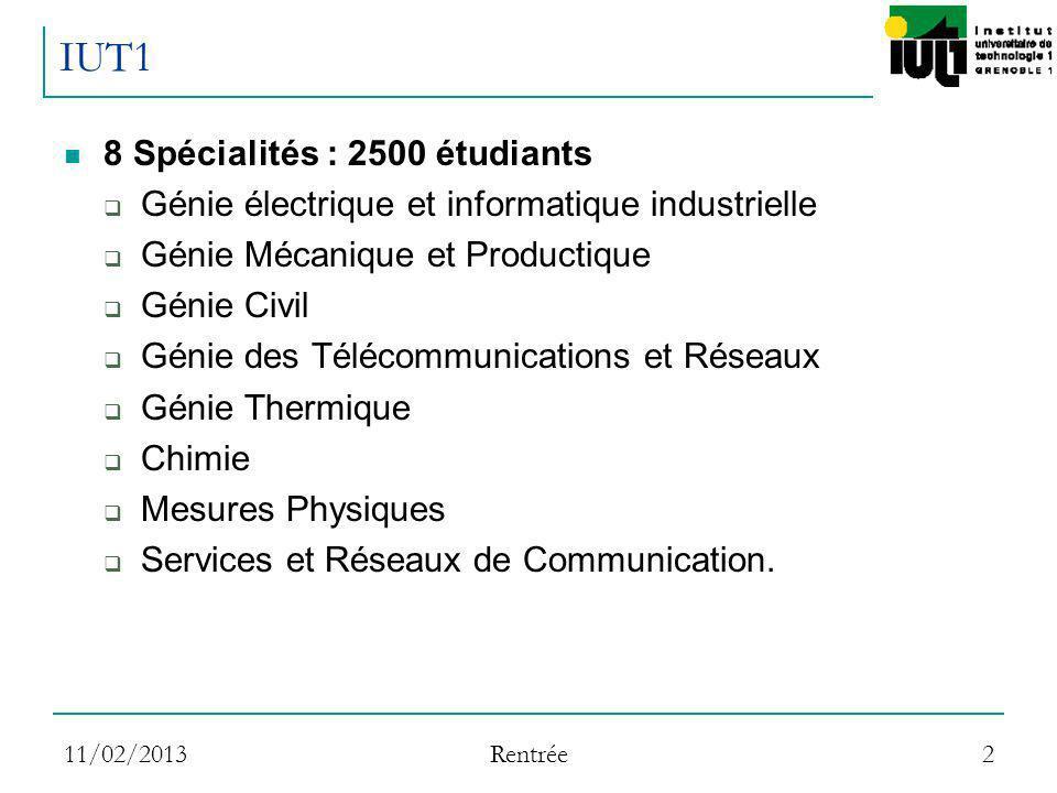 IUT1 8 Spécialités : 2500 étudiants