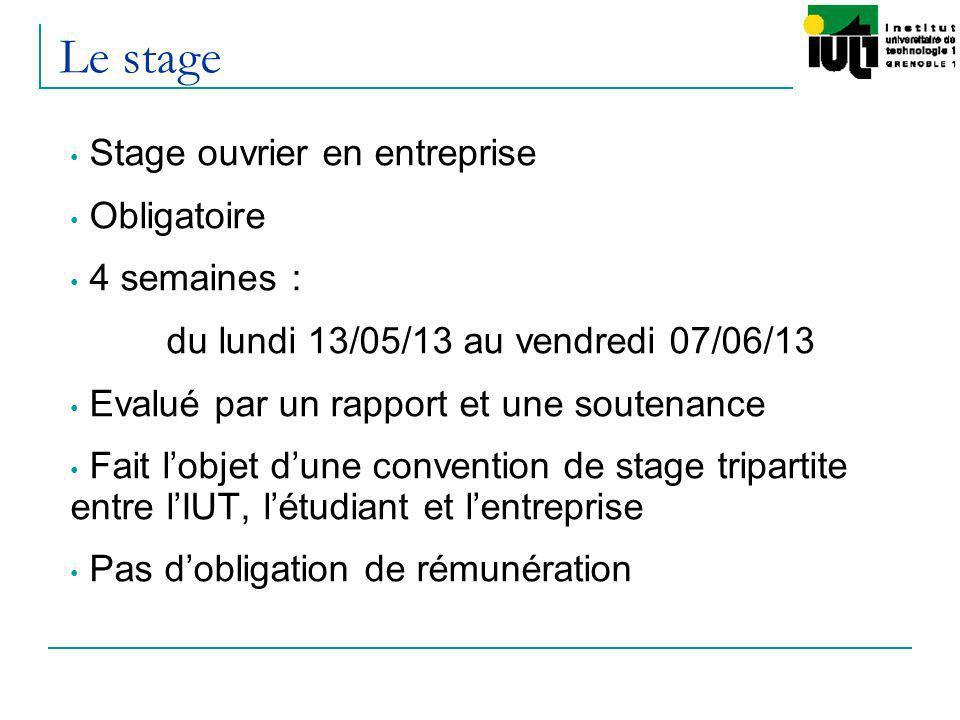 Le stage Stage ouvrier en entreprise Obligatoire 4 semaines :