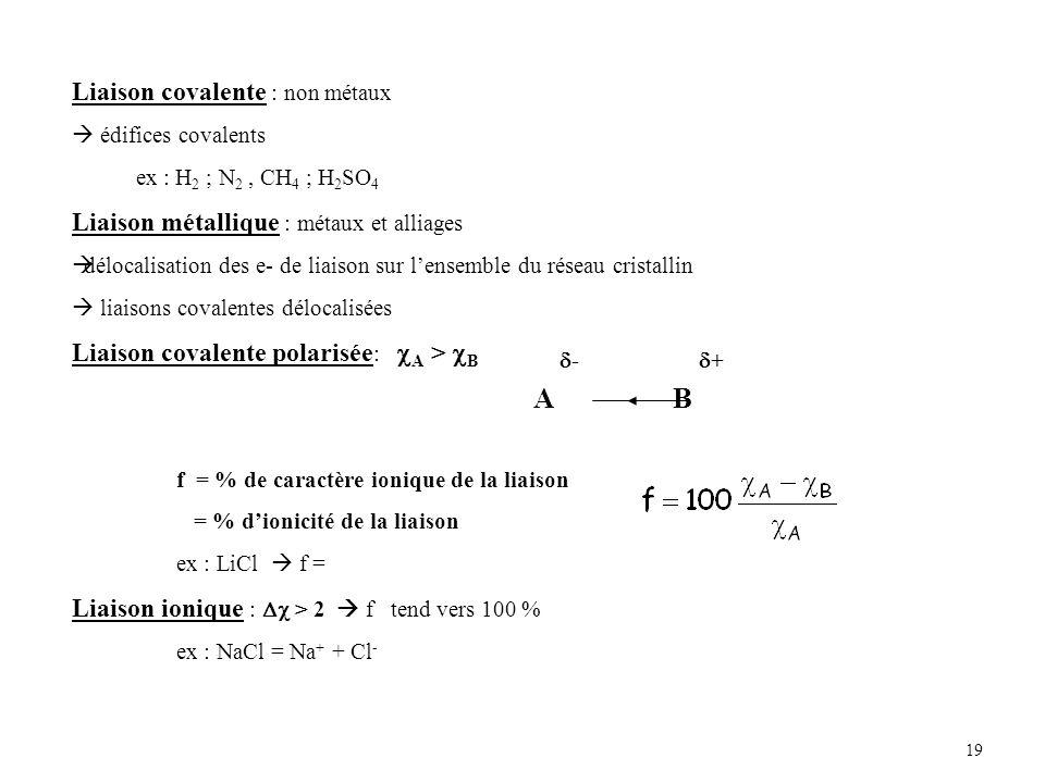 A B Liaison covalente : non métaux