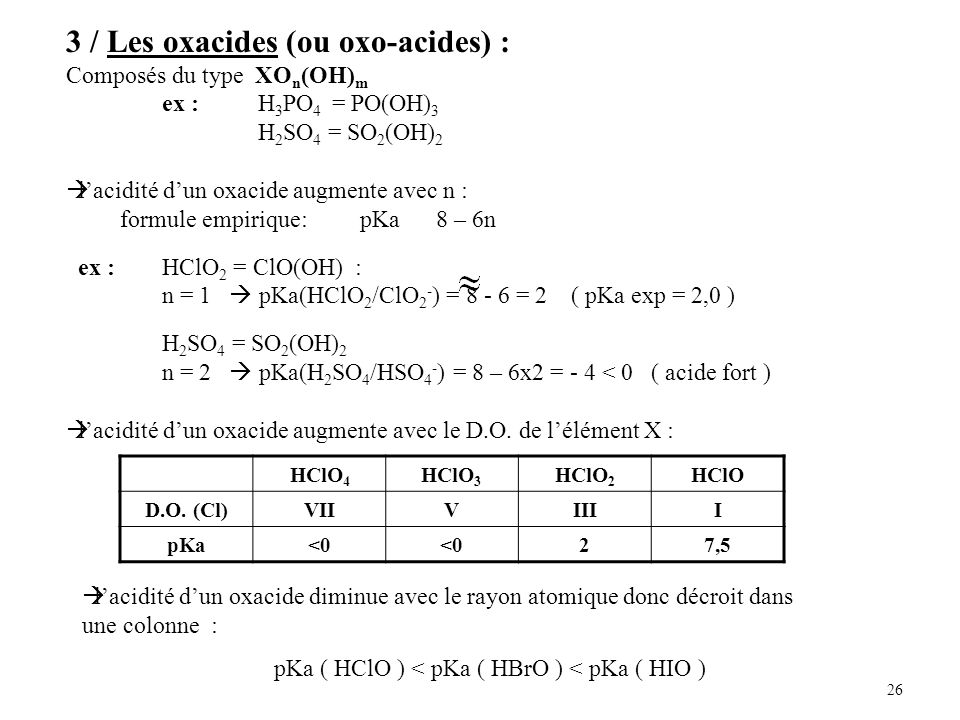 3 / Les oxacides (ou oxo-acides) :