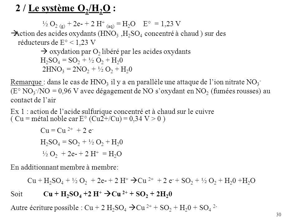 2 / Le système O2/H2O : ½ O2 (g) + 2e- + 2 H+ (aq) = H2O E° = 1,23 V