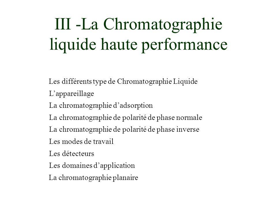 III -La Chromatographie liquide haute performance