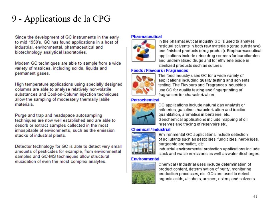 9 - Applications de la CPG