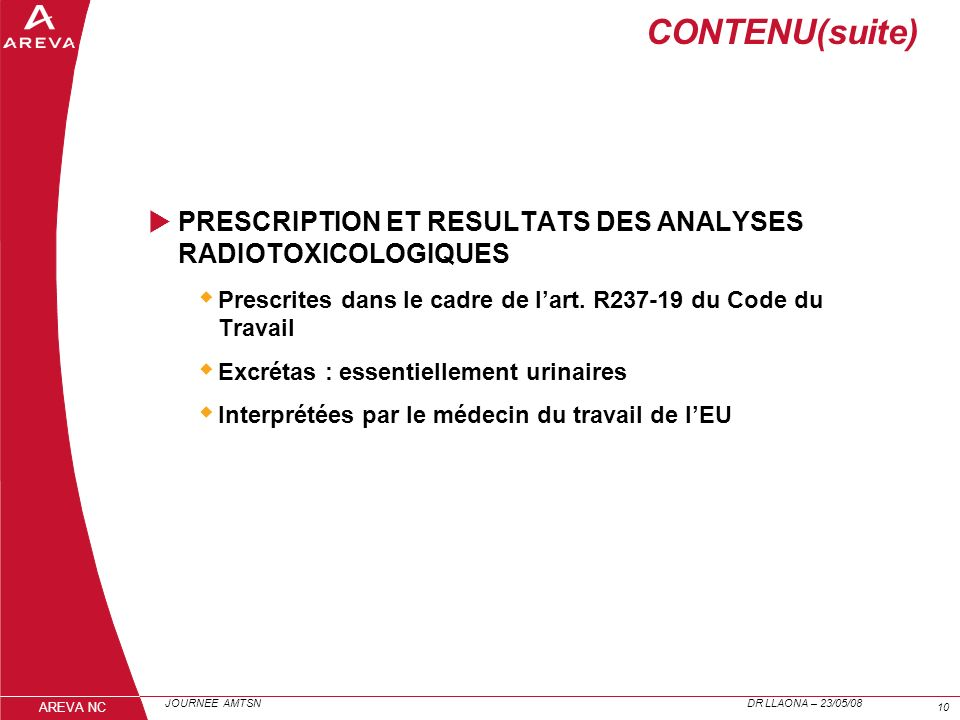 CONTENU(suite)PRESCRIPTION ET RESULTATS DES ANALYSES RADIOTOXICOLOGIQUES. Prescrites dans le cadre de l'art. R237-19 du Code du Travail.