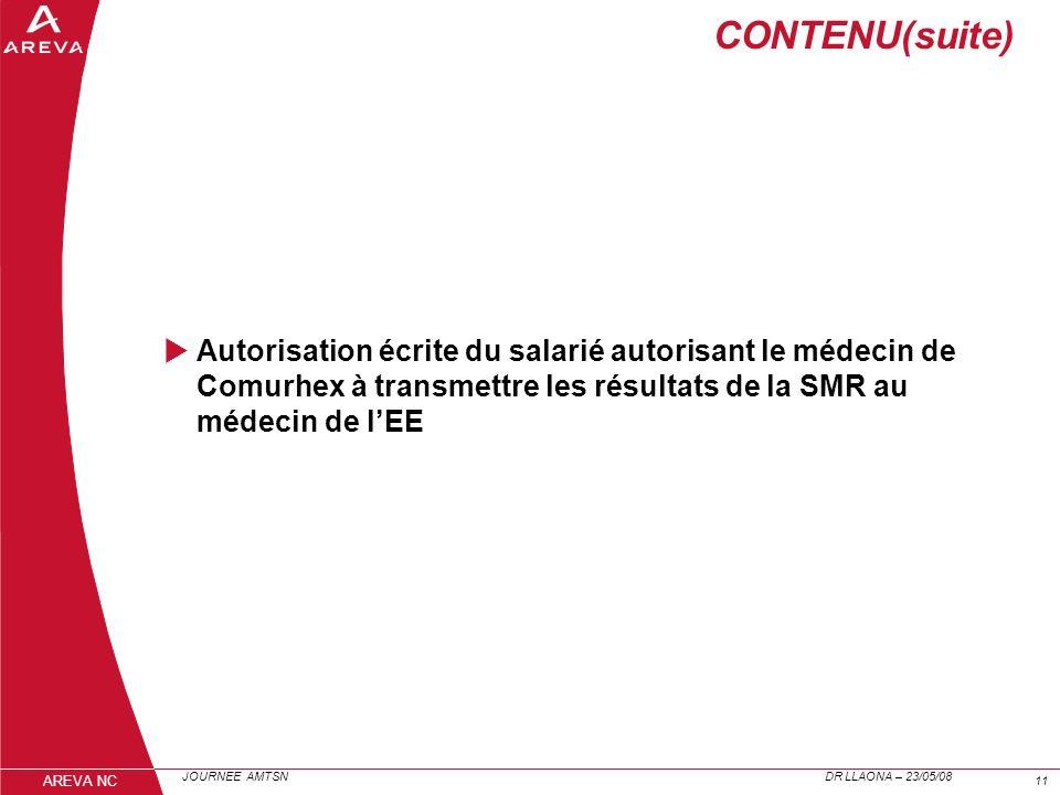 CONTENU(suite)Autorisation écrite du salarié autorisant le médecin de Comurhex à transmettre les résultats de la SMR au médecin de l'EE.