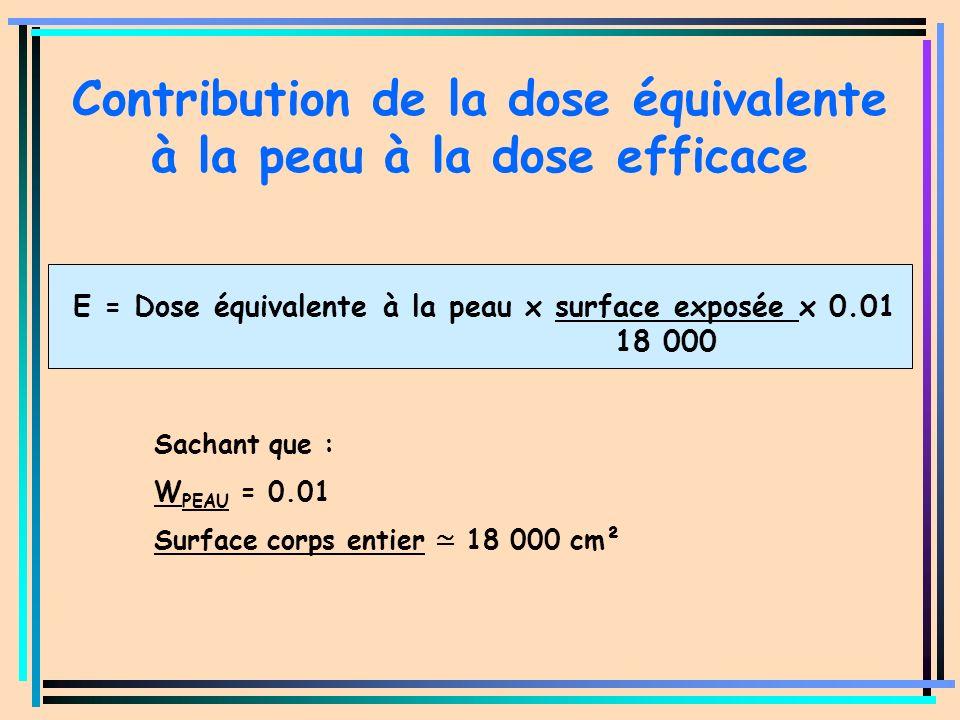 Contribution de la dose équivalente à la peau à la dose efficace