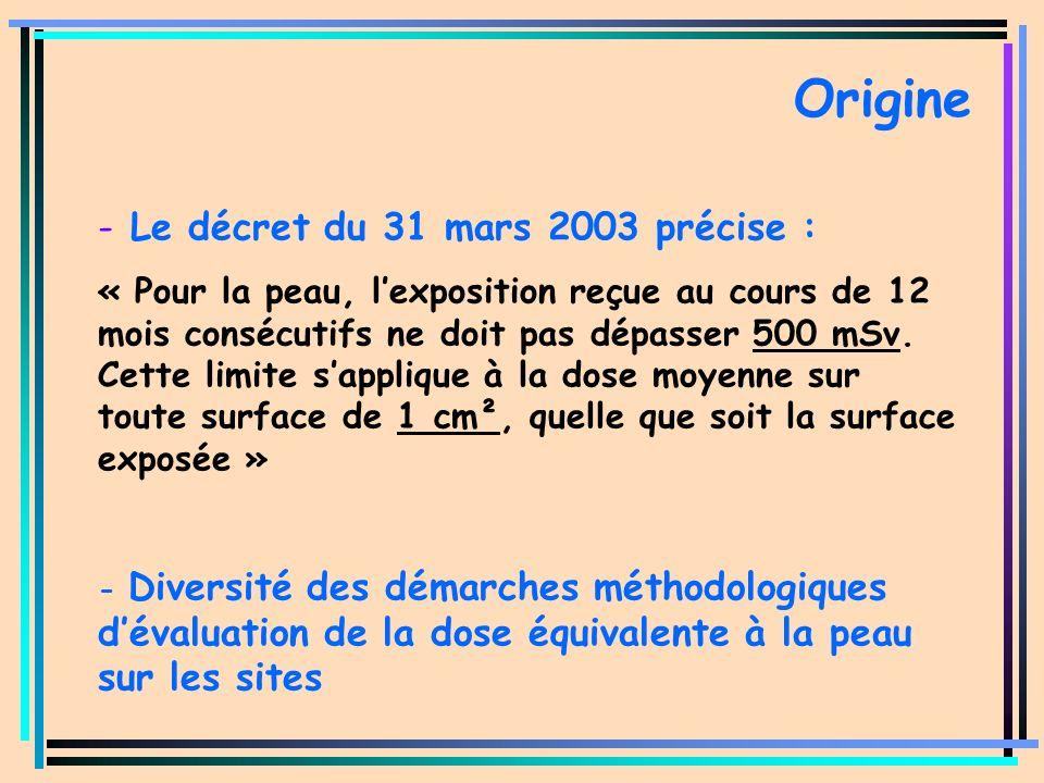 Origine Le décret du 31 mars 2003 précise :