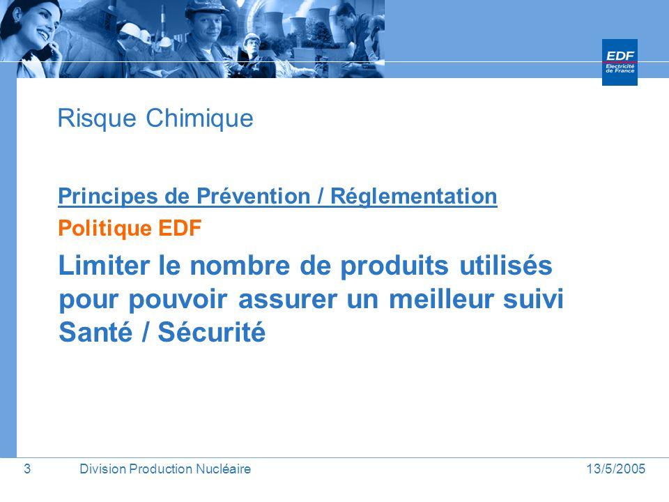 Risque Chimique Principes de Prévention / Réglementation. Politique EDF.