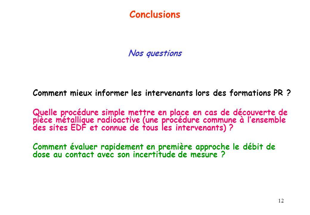 Conclusions Nos questions