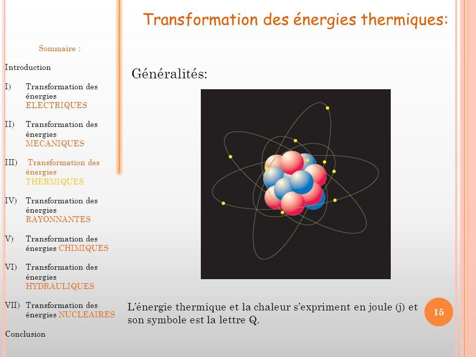 Transformation des énergies thermiques: