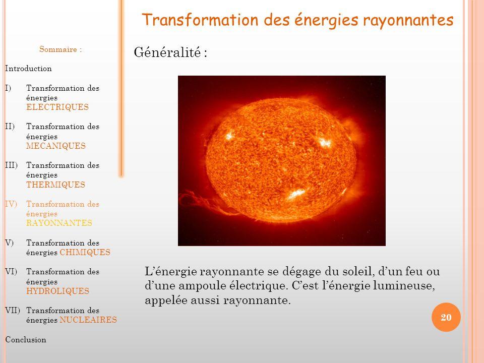 Transformation des énergies rayonnantes