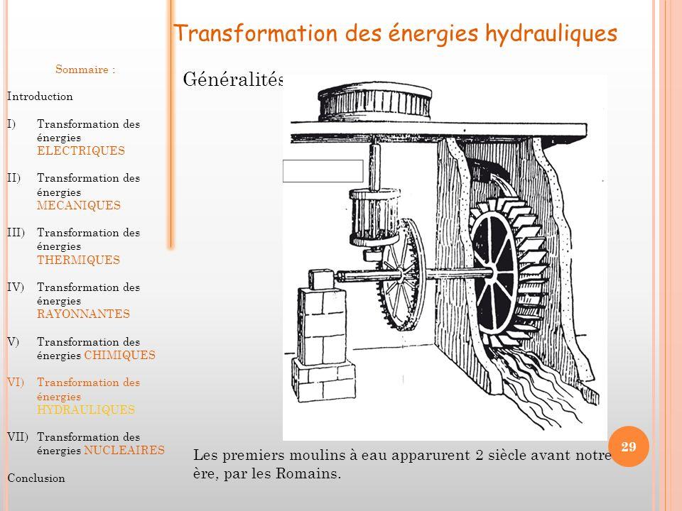 Transformation des énergies hydrauliques