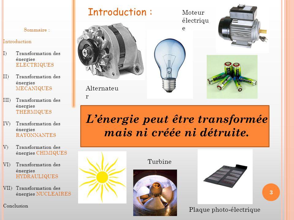 L'énergie peut être transformée mais ni créée ni détruite.